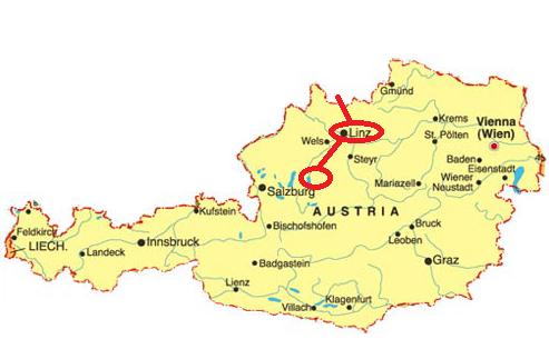 Mapa Rakouska