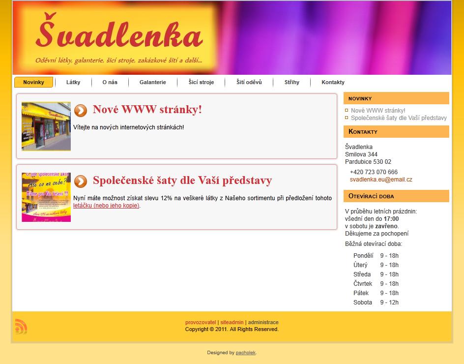 Spuštěny WWW stránky svadlenka.eu