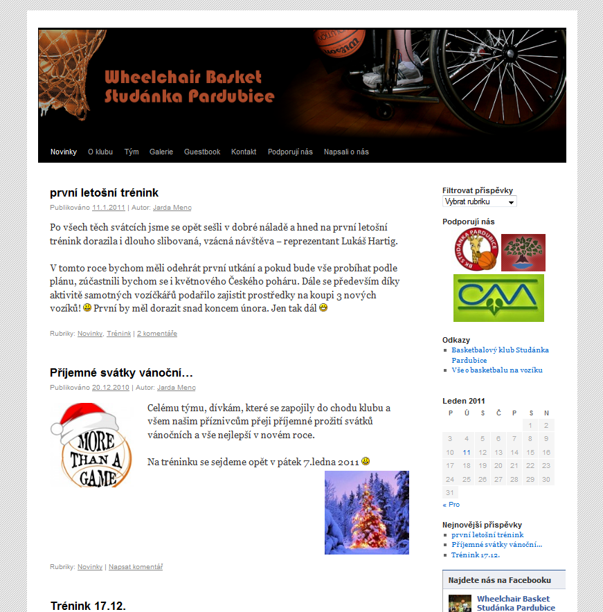Webové stránky pro WBS Pardubice
